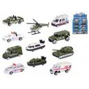 Vozidla vojenská/ambulance 7-8cm kov 1:64 volný chod 12druhů v krabičce 24ks v DBX, 8592117657595